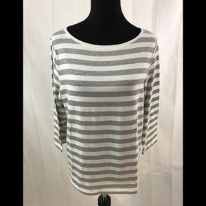 TALBOTS WOMAN BOATNECK TOP SILVER & WHITE SZ 1X